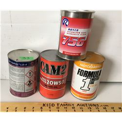 GR OF 4, SKYDROL, ROYCO, CAM2, MOTOMASTER - 1 LITRE / QT TIN CANS
