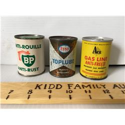 GR OF 3, BP, ESSO, ACE, 4 OZ TINS - FULL