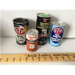 GR OF 4, STP & KLEEN-FLO TINS