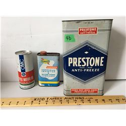 GR OF 3, PRESTONE, SUNOCO, CASTROL OIL TINS