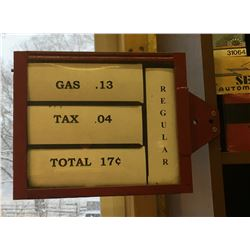 ORIGINAL HANGING GAS PRICE SIGN - FROM ORANGEVILLE
