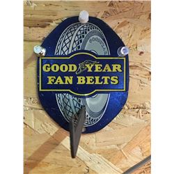 "GOOD YEAR, FAN BELT DEALER SIGN, APPROX 6"" - NOTE ORIGINAL WHITE RUBBER"