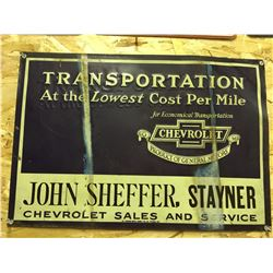 CHEVROLET SALES, ST. THOMAS SST EMBOSSED SIGN - STAYNER 1950'S