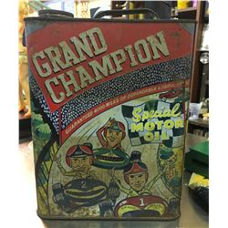 GRAND AUTO STORES, GRAND CHAMPION MOTOR OIL CAN, 2 US GAL