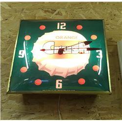 ORANGE CRUSH CLOCK, PAM CLOCK CO, 1956 - WORKING, ILLUMINATING