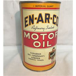 EN-AR-CO, MOTOR OIL TIN, 1 IMP QT, POSSIBLY RE-WRAPPED, CHECK IMAGE