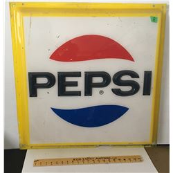 "PLASTIC PEPSI SIGN, 28.5"" SQUARE"