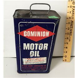 DOMINION MOTOR OIL GALLON TIN W/CONTENTS