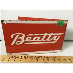 "BEATTY TIN RACK SIGN, 12"" X 7"""