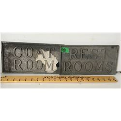 "GR OF 2 METAL SIGNS, COAT ROOM, REST ROOMS 6"" X 12"""
