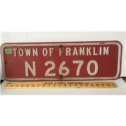 "TOWN OF FRANKLIN METAL SIGN, 24"" X 8"""