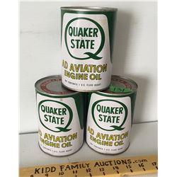 GR OF 3 QUAKER STATE AVIATION OIL, U.S. QT TINS, FULL