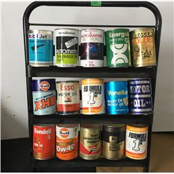 OIL CAN RACK W/15 MISC TIN AND FIBRE CANS, SOME FULL