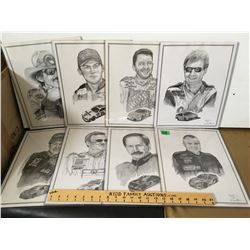 GR OF 8, DALE ADKINS, NASCAR DRIVER SIGNED SKETCHES