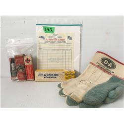 GR OF 4, D-A GLOVES, CHEV INVOICE, CHAMPION SPARK PLUGS, GOODYEAR PLIOBONE