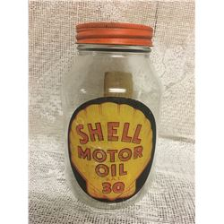 SHELL, MOTOR OIL, 1 QT GLASS JAR