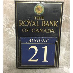 ROYAL BANK, TIN / CARDBOARD DAY DISPLAY CALENDAR