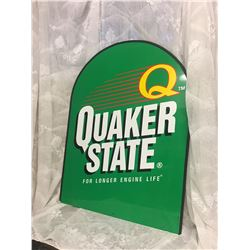 QUAKER STATE, PLASTIC DISPLAY SIGN W / METAL STAND - AS NEW