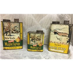 GR OF 3, NY MAPLE SYRUP TINS
