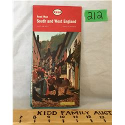 ESSO, SOUTH AND WEST ENGLAND ROAD MAP, 1963