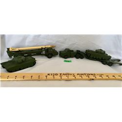 DINKY SUPERTOYS, MILITARY VEHICLES, MISSILE CARRIER, TANKS & HAULER - MECCANO OF ENGLAND