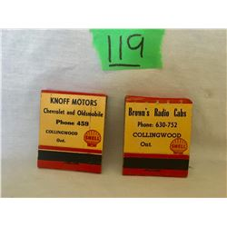 GR OF 2, SHELL MATCHBOOKS FROM COLLINGWOOD, KNOFF MOTORS & BROWN'S RADIO CABS