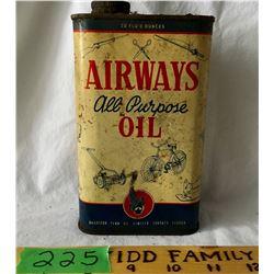 AIRWAYS ALL-PURPOSE OIL 20 OZ, SOME CONTENTS  BRADFORD PENN OIL TORONTO