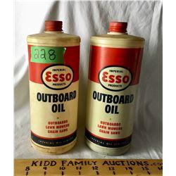 GR OF 2 ESSO OUTBOARD OIL, PLASTIC 35 OZ, 1 FULL