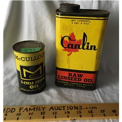 GR OF 2, MCCULLOCH, 2-CYCLE ENGINE OIL TIN, 15 OZ - FULL. CATLIN, RAW LINSEED OIL, 2 LBS - FULL.