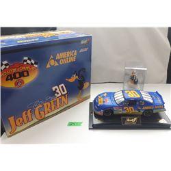 NASCAR 1:24 SCALE DIECAST, JEFF GREEN #30 CAR W/DAFFY DUCK FIGURE, NEW IN BOX
