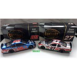GR OF 2 NASCAR 1:24 SCALE DIECAST, DALE JARRETT, CASEY ATWOOD CARS,  W/BOX