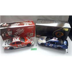 GR OF 2 NASCAR 1:24 SCALE DIECAST, TONY STEWART, RUSTY WALLACE CARS, W/BOX