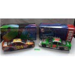GR OF 2 NASCAR 1:24 SCALE DIECAST, JEFF GORDON, BOBBY LABONTE CARS, W/BOX