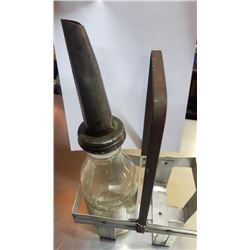 GLASS OIL BOTTLE W / SPOUT & CARRIER