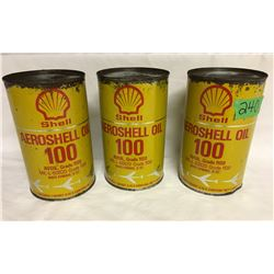 GR OF 3, AREOSHELL OIL CANS, 1 QT SIZE