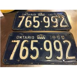 PAIR OF 1955 LICENCE PLATES