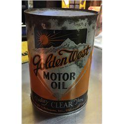 GOLDEN WEST, MOTOR OIL CAN, 1 QUART SIZE
