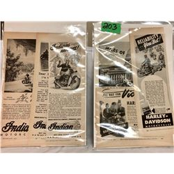 GR OF 2, 1942 / 44 INDIAN MOTORCYCLES & HARLEY DAVIDSON MOTORCYCLES ADS