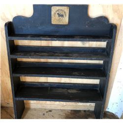 """BLACK BEAUTY OIL PRODUCTS STORE DISPLAY SHELF, VERY RARE. APPROX 33"""" x 43"""" W / TIN SIGN."""