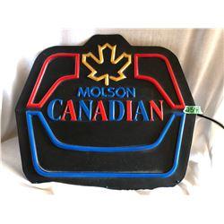 MOLSON CANADIAN PLASTIC ILLUMINATING CLOCK, HARDING CO. 1990