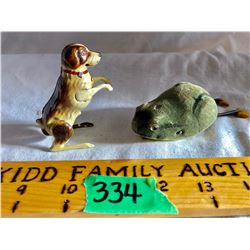 GR OF 2 MECHANICAL TOYS, SCHUCO FROG, DOG MADE IN US ZONE GERMANY,