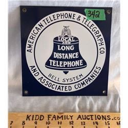 PORCELAIN BELL TELEPHONE SIGN, REPRO