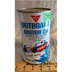 CANADIAN TIRE OUTBOARD MOTOR OIL TIN, 40 OZ, FULL
