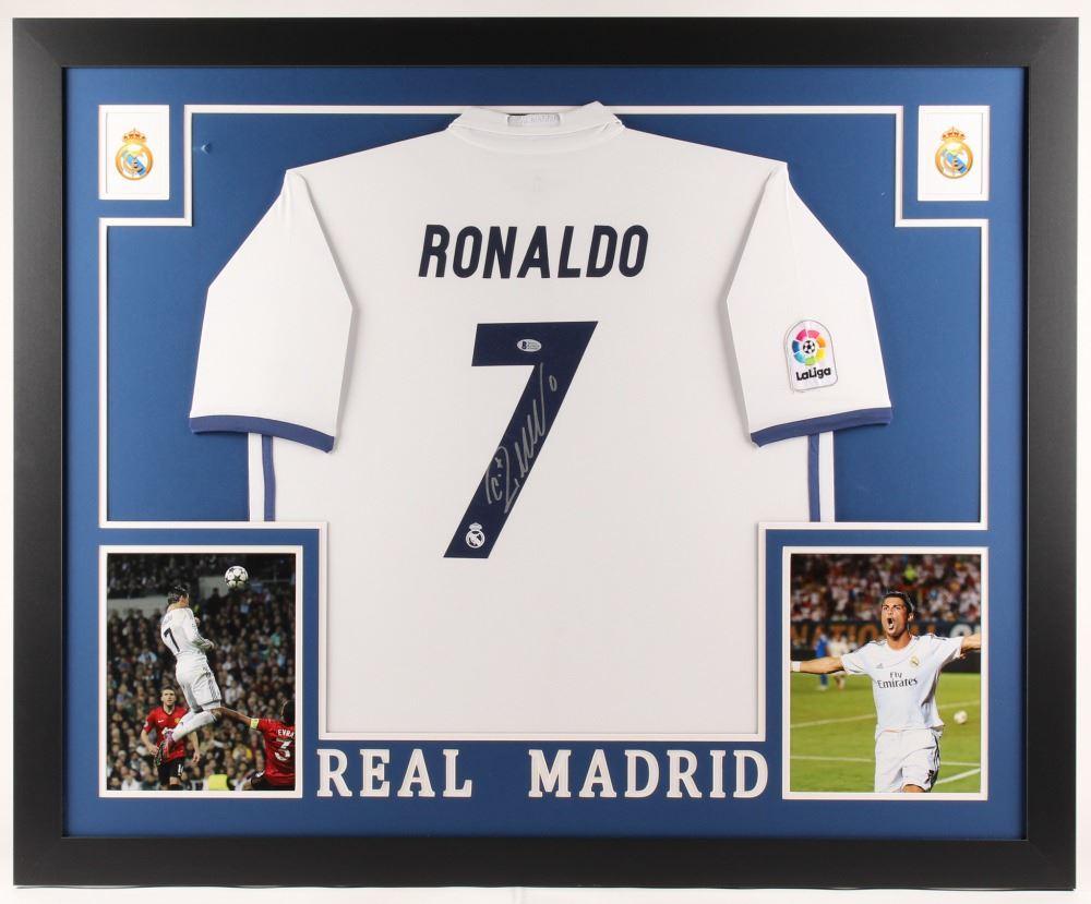 the best attitude aea19 6494e Cristiano Ronaldo Signed Real Madrid 35x43 Custom Framed Jersey (Beckett  COA)