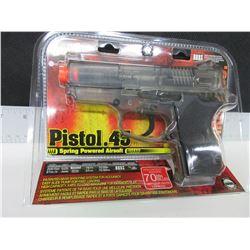 New Air Soft .45 cal Pistol 200fps spring power High capacity magazine 70bb's