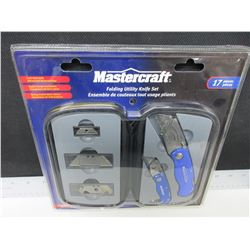 New Mastercraft Folding utility Knife set 17 pieces comes with case