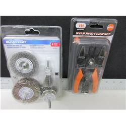 New Snap ring pliers 4 in 1 & Mastercraft Wire Brush set 4 piece