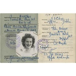 Maureen O'Hara Alien Certificate of Registration and travel ephemera.