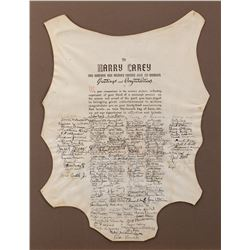 "Harry Carey anniversary ""hide"" presented to commemorate his career signed by scores of stars."