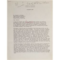 David O. Selznick typed letter signed discussing directors for a William Holden unproduced film.